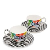 Чайный набор из костяного фарфора на 2 персоны «Цветочный модерн» SL-24 (Stechcol)
