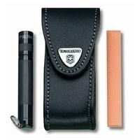 Чехол VICTORINOX для ножей 91 мм 2-4 уровня, с отдел. для фонаря и точильного камня, кожаный, чёрный