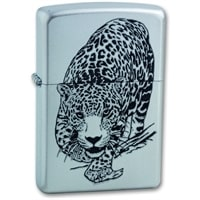 Зажигалка ZIPPO Leopard, с покрытием Satin Chrome™, латунь/сталь, серебристая, матовая