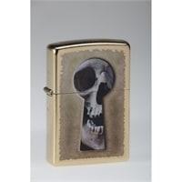 Зажигалка ZIPPO Keyhole Skull, латунь с покрытием Gold Dust, золотистая, матовая