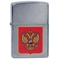 Зажигалка ZIPPO Герб России с покрытием Brushed Chrome серебристая, матовая