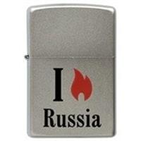 Зажигалка ZIPPO Flame Russia с покрытием Satin Chrome™ серебристая, матовая