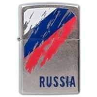 Зажигалка ZIPPO Russia Flag с покрытием Street Chrome™ серебристая, матовая