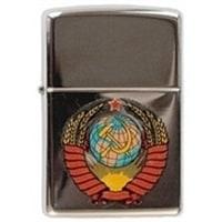 Зажигалка ZIPPO Герб СССР High Polish Chrome, латунь,ник.-хром.покр.,серебр.,глянц.