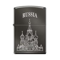 Зажигалка ZIPPO Собор Василия Блаженного с покрытием Black Ice® чёрная, глянцевая