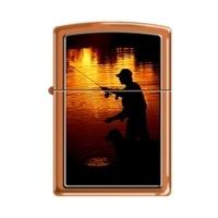 Зажигалка ZIPPO Ночная рыбалка с покрытием Orange Matte оранжевая, матовая