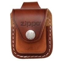 Чехол ZIPPO для широкой зажигалки, кожа, с кожаным фиксатором на ремень, коричневый