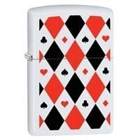 Зажигалка ZIPPO Poker Patterns с покрытием White Matte белая, матовая