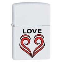Зажигалка ZIPPO 214 Love Theme с покрытием White Matte белая, матовая