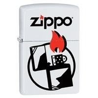 Зажигалка ZIPPO 214 Zippo с покрытием White Matte белая, матовая